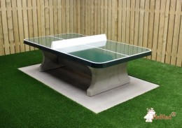 Table ping-pong en verte, angles arrondis, plein air
